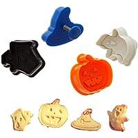 ElecMotive, set di 4 formine per biscotti, stampini per dolci, con espulsore, colori assortiti a caso Halloween