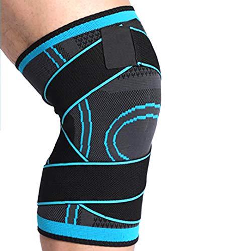 LANGYINH Kniebänder, Anti-Rutsch-Kniebandage für Männer & Frauen - Super elastischer, atmungsaktiver Gürtel, zur Schmerzlinderung, Meniskus-Riss, Arthritis, ACL, Workout, Fitness (2-Pack),Blue,L