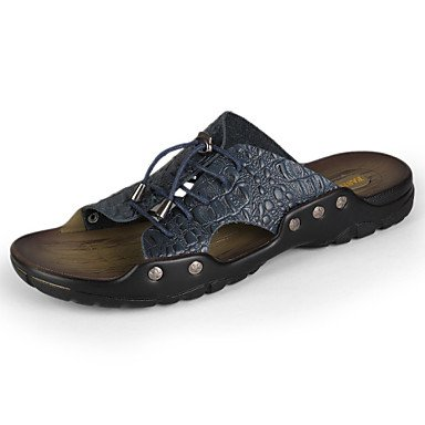Uomo Sandali Primavera Estate Autunno Pelle Comfort Casual Tacco Rivet nero blu scuro Yello sandali US10 / EU43 / UK9 / CN44