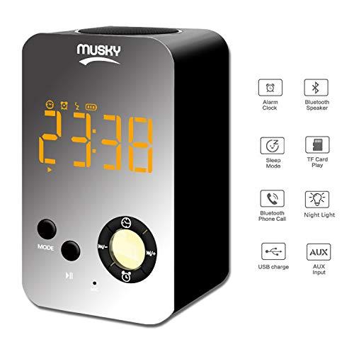 MUSKY Wecker mit kabellosem Bluetooth-Lautsprecher, tragbarer Outdoor-Lautsprecher mit Sma