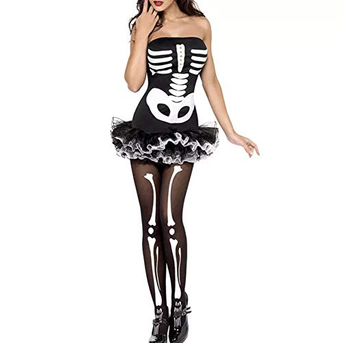 FIREWSJ Halloween Kostüm Dekoration Halloween Kostüm Adult Female Scary Cosplay Tüll Minikleid Short Fancy Horror Schwarze Frau Teen Girl (Scary Kostüm Teens)