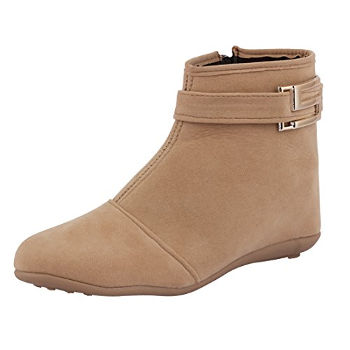 ABJ Fashion Women's Beige Synthetic Boot -Ind/Uk-5 Or Eu-38