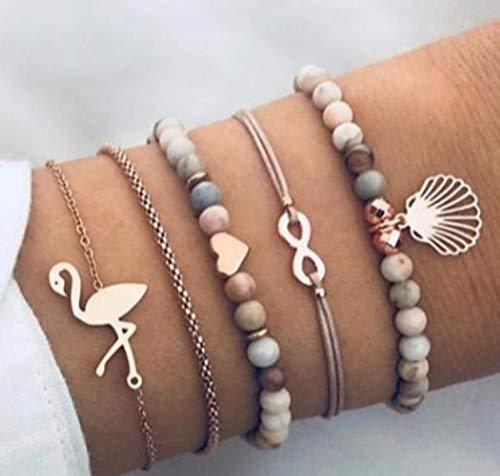 WL Armband Flamingo Schlangenkette Armband Mi Perlen Armband fünf Stück Set Fußkettchen Armkette