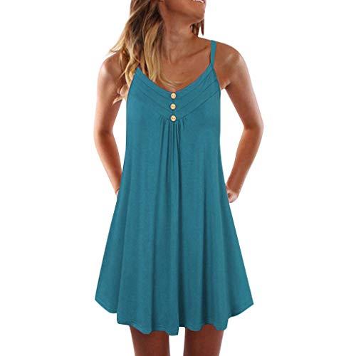 AIni Damen Sommerkleid Vintage ÄRmelloses Spaghetti-Bügel-zweireihiges Einfaches Etuikleid Mode Beiläufiges Strandkleid Partyklei