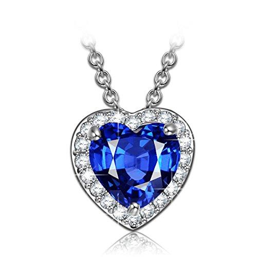 Kami Idea Damen Kette Sternen Liebe blau Herz Anhänger mit Blauen Kristallen Geburtstagsgeschenk...