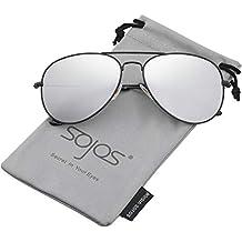 SOJOS Gafas De Sol Para Hombres Y Mujeres Clásico Marco Metal Lentes Espejo  Polarizadas SJ1054 dc4d8741f4