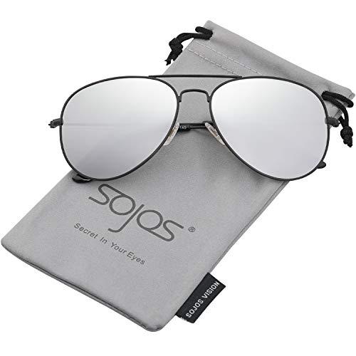 SOJOS Schick Klassische UV Schützen Polarisiert Sonnenbrille Herren SJ1054 mit Schwarz Rahmen/Silber Linse