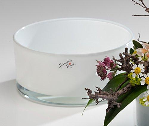 Coupe automatique ronde blanc de sandra rich, Verre, blanc, 7,5 cm hoch Durchmesser 16 cm