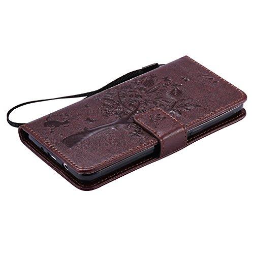 Cozy Hut [New Style] Custodia per Cellulare di Cuoio per iPhone SE / 5 / 5S,Book-style PU Pieghevole Pelle Cover con Carte di Credito Slot Funzione di Supporto e Chiusura Magnetica Evitare Graffi,Albe marrone