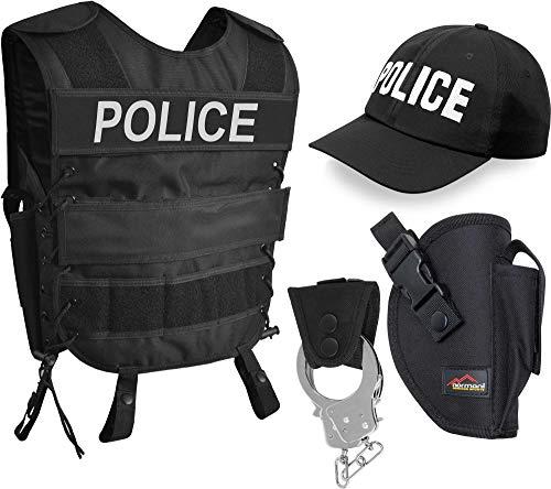 normani Police Kostüm für Damen und Herren - Unisex [XS-6XL] - bestehend aus Weste mit Patch, bestickter Cap, Handschellen + Handschellenhalter Größe XL/XXL