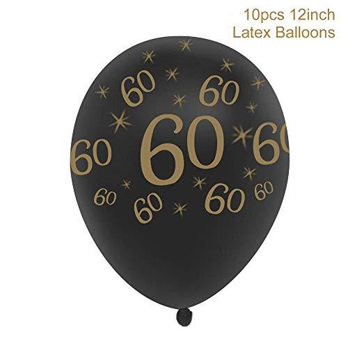 (Horrenz – 30 40 50 60 70 Happy Birthday Party-Dekorationen für Erwachsene, personalisierter Geburtstag Party-Zubehör Gold Black 60)
