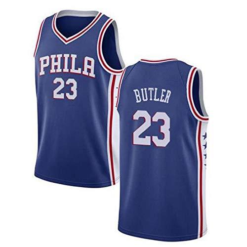 Jimmy Butler # 23 Herren-Basketballtrikot - NBA 76ers, New Embroidered Swingman Jersey Ärmellose Sport-T-Shirts,Blue-L