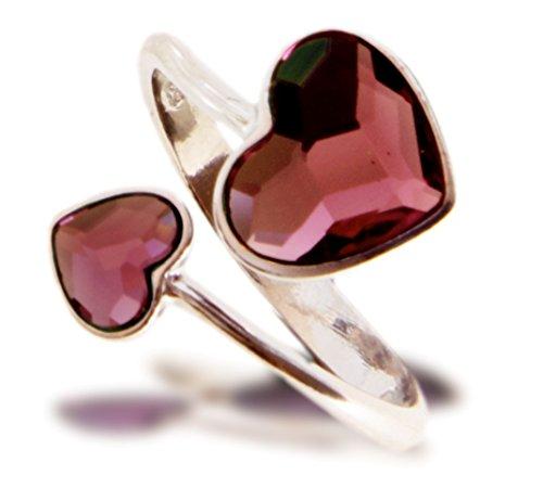 Exclusive Swarovski® cristalli in Ana Morales-Anello da donna in argento Sterling 925dimensioni regolabile, argento, 54 (17.2), colore: Antik Pink, cod. R22