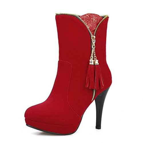 AllhqFashion Damen Rein Blend-Materialien Hoher Absatz Reißverschluss Stiefel Rot