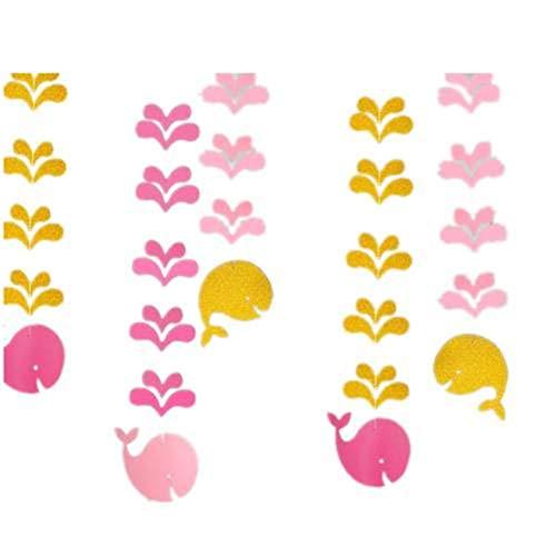 lande Herzlichen Glückwunsch zum Geburtstag Kreispapier Hängender Wal Schwalbenschwanz Tisch Konfetti Glitzersterne Glitzerpapier pink ()