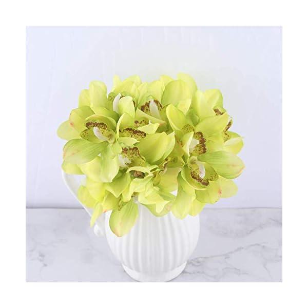 QYYDGH Retro Elegante Hermosa Orquídea Blanca Flores Artificiales Real Touch Flor Cymbidium Mano Nupcial Ramo de Flores…