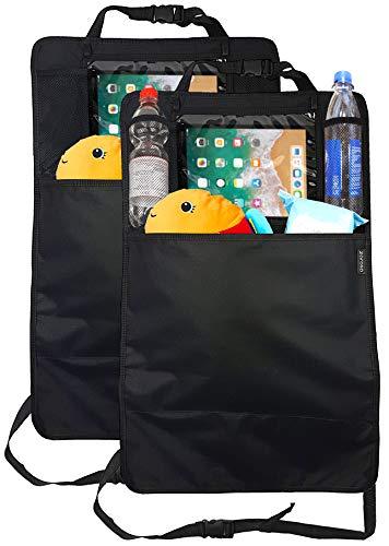 für Auto Kinder (2 Stück) von ZAROSO mit großer Tasche und Tablet-/iPad-Fach, Auto-Rücksitz-Organizer für Kinder, Autositz-Schoner wasserdicht, Kick-Matten-Schutz ()