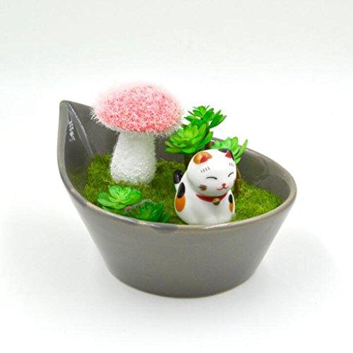 Aoligei Glückliche Katze niedliche Simulation gefälschte Blumen Innendekoration Ornamente jeder Satz von zwei Töpfen 8*8cm
