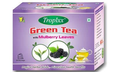 Tropixx Mulberry Leaves Green Tea Blend - Indian Herbal Drink (20 Tea Bags) -