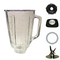 Blendin 5 Cup Square Top Glass Jar Assembly With Gasket,Base, and Lid. Fits Oster Blenders