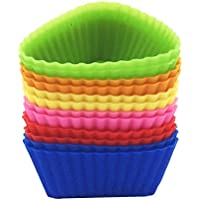 Silicone Baking Cups 12 Cupcake Muffin Liners Kids Bento Lunchbox