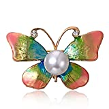 LouiseEvel215 Elegant Butterfly Clothes Clip Exquisite Women Brooch Pin Imitation Pearl Brooch Charming Party Accessories