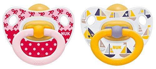 NUK 10173070 Happy Kids Latex - Schnuller mit Ring, kiefergerecht, Größe 3, 18 - 36 Monate, 2 Stück, Girl (Klassische Latex)