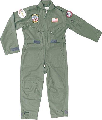 Kinder Flight Suit Kinder US Airforce Top Gun Pilot Flieger Armee Kleidung Gr. XL, Mehrfarbig - Olive