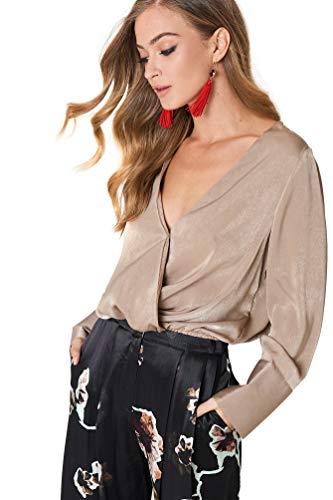 Satin Wrap Kleid (NA-KD - Damen Festlische Blusen Wrap Satin Top Oberteile Braun)