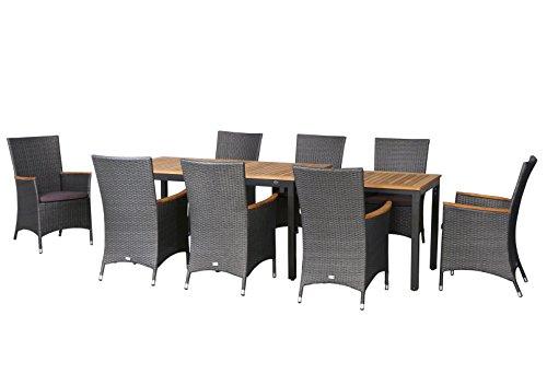17-teilige XXL Luxus Aluminium Teak Polyrattan Geflecht Gartenmöbelgruppe 'Malibu' , 8 Diningsessel, 8 Auflage und ein Ausziehtisch Tifosi 160/280x90, anthrazit - titan