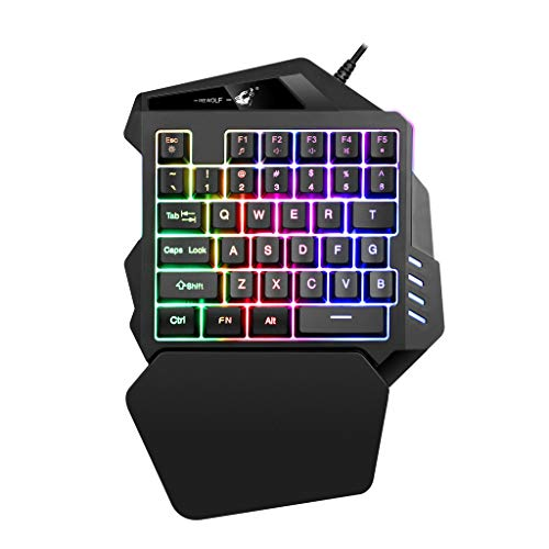 Single Handed (Omiky® K13 One-Handed Mechanical Gaming Keypad,One/Single-Hand-USB-Esport Gaming-Tastatur 35 Key-LED-Hintergrundbeleuchtung USB Ergonomische Einhandtastatur Gaming Keyboard für LOL (Schwarz))