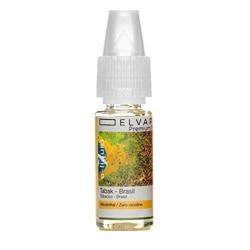 Elvapo Premium Plus E-LIQUIDS mit extra starkem Geschmack Tabak - Brasil für E-Zigaretten und E-Shishas 0.0 mg (nikotinfrei), 10 ml