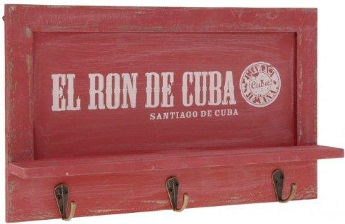 Nostalgisches Holz Schlüsselbrett - Garderobe mit 3 Haken - Brett mit Ablage - Schlüsselablage bzw. Handy-Ablage - Hakenleiste, Farbe:Rot