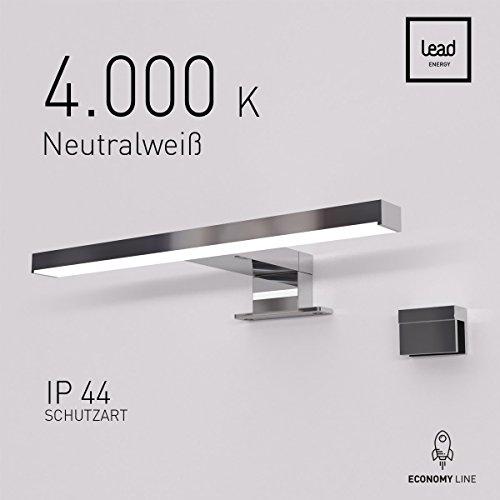 LEAD energy LED Spiegelleuchte Passion PS6 6W 30 cm Tageslicht Spiegellampe Badlampe Badezimmerlampe Spiegelschrank