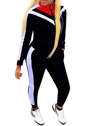 ORANDESIGNE Damen Mode Streifen Trainingsanzug Mädchen Lange Ärmel Zipper Top + Lange Hose Sportswear 2 Stück Bekleidungsset Sport Schwarz DE 40