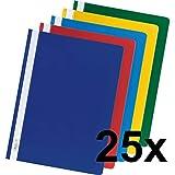 Falken Plastik-Schnellhefter aus PP-Folie für DIN A4 kaufmännische Heftung farbig sortiert 25er Pack Hefter ideal für Büro und Schule