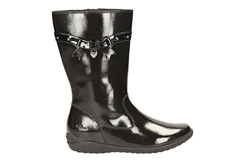 Clarks Gloforms Ting bottes de Chic Inf fille en daim noir noir verni