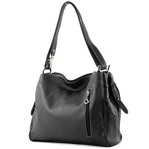modamoda de - ital. Ledertasche Damentasche Umhängetasche Tasche Schultertasche Leder T119, Präzise Farbe:Schwarz (Italienische Handtasche)