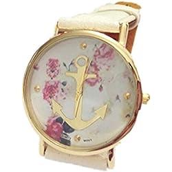 LI&HI Charm High Fashion Women's Geneva Rose Flower Golden Anchor Style Leather Watch