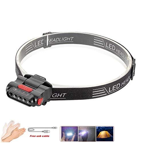 SSeir LED Lampe d'induction de tête, Mini Projecteur LED, Clip Hat Phare Phare USB Rechargeable Lumière étanche Confortable, pour courrir Camping Randonnée Pêche