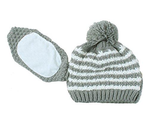 niceEshop(TM) Femmes Hiver Chaud Tricot Crochet Chapeaux Bouchon Ski avec Masque de Bouche Gris