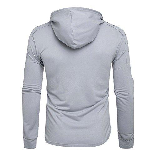 Sweat-Shirt Homme Manches Longues Pull Uni Zippé Bomber Blouson Veste Sport Hommes Hiver Solide Trous Pull Sweatshirt Outwear