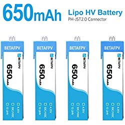 BETAFPV 4pcs 650mAh 1S Battery 4.35V LiPo HV Battery JST 2.0 PowerWhoop Connector for Beta75s Inductrix FPV Plus Micro FPV Drone