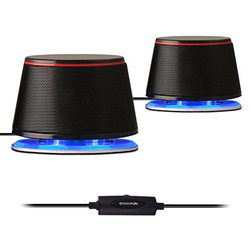 Sanyun SW102 PC-Lautsprecher, 5Wx2, Tiefer Bass in kleinem Körper, Stereo 2.0 USB 3.5mm Aux Multimedia-Lautsprecher, eingebaute Bass Vibrierende Membran, Computer Laptop Desktop Lautsprecher, Schwarz