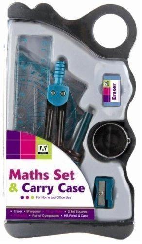 Schreibwaren-Set für die Schule, Mathe/Geometrie, mit Transportbox, Blau
