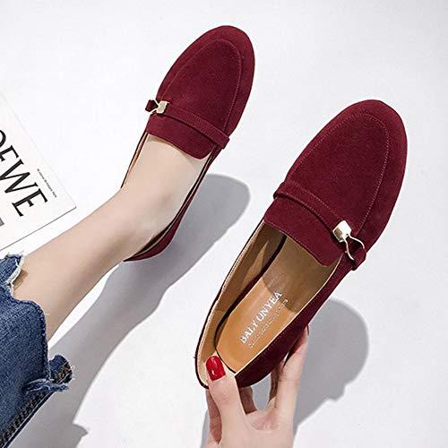 Espadrilles,Donne mocassini punta quadrata di slittamento sul piatto scarpe metallo Scarpe Casual in finta pelle scamosciata cappelli donna Scarpe Donna Zapatos Mujer scarpa barca il vino rosso,imma