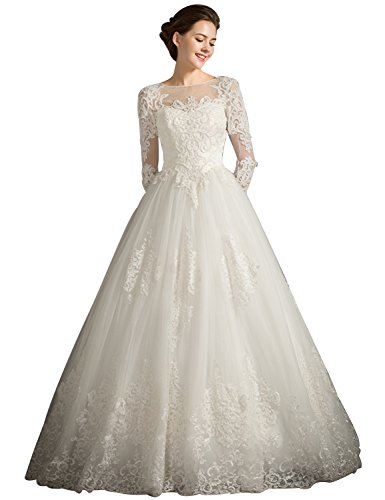 Fanciest Damen Spitzen Brautkleider with Lang Sleeves Bridal Ball Kleider White UK6