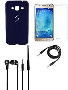 NIROSHA Tempered Glass Screen Guard Cover Case Headphone for Samsung Galaxy J5 - Combo
