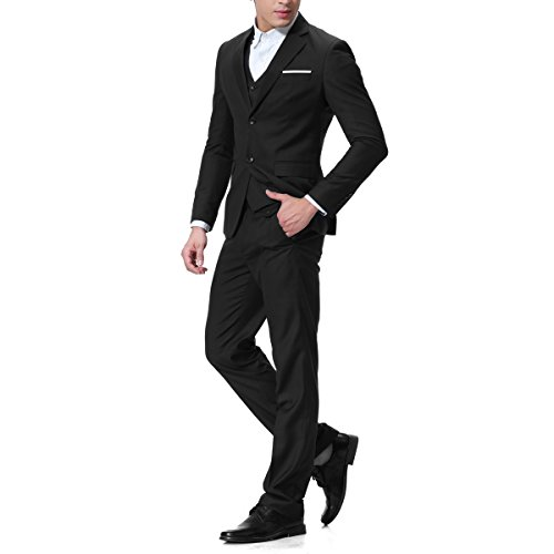 Men's Modern Fit 3-Piece Suit Blazer Jacket Tux Vest & Trousers