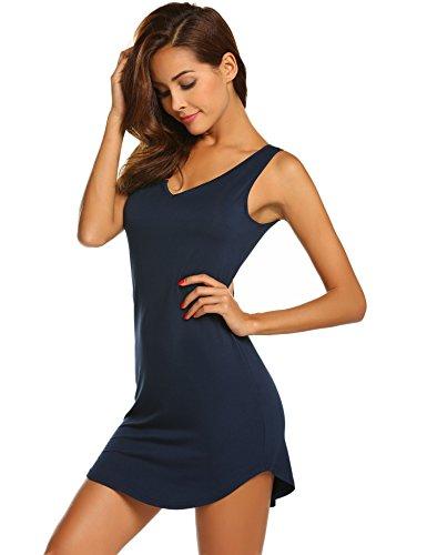 Skione Damen Ärmellos Nachthemd Kurz Sexy Nachtwäsche V-Ausschnitt Nachtkleid Negligee Sleepwear Gemütlich Schwarz Grau Blau, Marineblau, L/EU 40-44